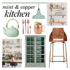 mint & copper kitchen - Home Decorations Kitchen Dinning Room, Apartment Kitchen, Kitchen Redo, Kitchen Interior, New Kitchen, Kitchen Remodel, Copper Kitchen Accents, Mint Kitchen, Mint Decor