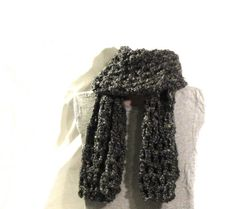 Chunky grey, 11-stitch, double crocheted scarf