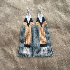 Flesh grey white & black beaded fringe earrings handmade