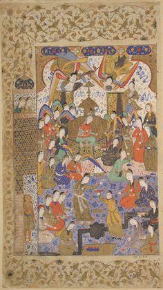 Arts of the Islamic World   Folio from a <i>Khamsa</i> (Quintet) by Nizami (d.1209); recto: Bilqis enthroned   S1986.287