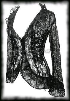 Gothic Black Lace Corset Jacket Top
