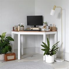 Chalford Painted Corner Desk with Topper - The Cotswold Company White Corner Desk, Corner Wall, Business Furniture, Home Office Furniture, Curved Reception Desk, Stand Up Desk, Boys Bedroom Decor, Bedroom Ideas, Wall Desk