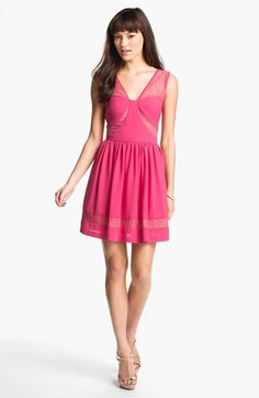 Max & Cleo Lace Inset Crepe Fit & Flare Dress available at #Nordstrom