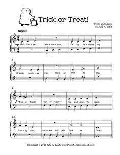 Trick or Treat, free printable Halloween sheet music for piano.