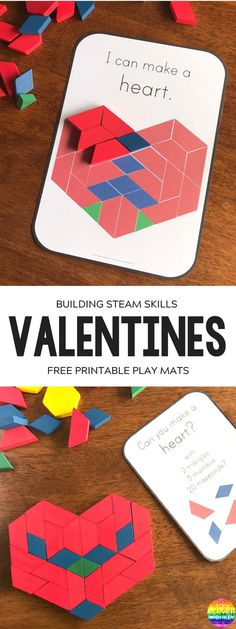 Free printable pattern block cards. Perfect for a fun STEAM activity for kids for Valentine's Day!