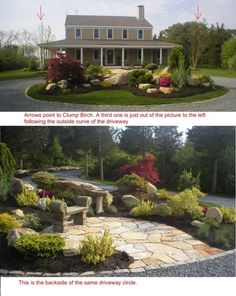 circular driveway landscaping, like the mounded flowerbed/landscaping idea, with boulders too.