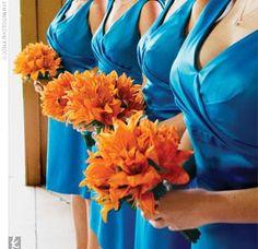 turquoise (blue) and orange