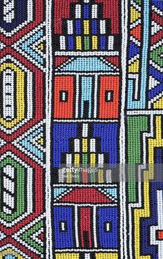 View top-quality stock photos of Colourful African Ndebele Bead Work Full Frame. Loom Patterns, Beading Patterns, African Wedding Theme, African Colors, African Patterns, African House, Africa Art, African Beads, African Design