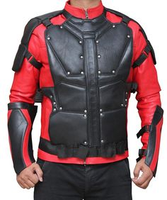 Will Smith Deadshot Suicide Squad Red And Black Leather Jacket at Amazon Men's Clothing store: