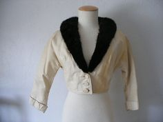 60s cropped white leather jacketmink fur by vintagestew on Etsy, $22.00