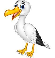 Cartoon funny seagull posing isolated vector