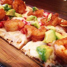 Fried #shrimp #flatbread with #avocado. #longislandfoodie #lunchspecial #delicious #drinklocal #eatlocal #maxwells