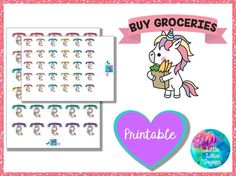 Uli Unicorn - Buy Groceries planner stickers, market, buy, groceries, store, cute, erin condren, happy planner, kawaii, unicorn, unicorns