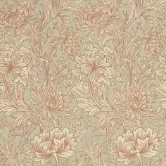 Chrysanthemum Toile (DMOWCH104) - Morris Wallpapers - Based on an original Morris design this is a pretty all over engraved Chrysanthemum floral design. Available in 4 colours – shown in the eggshell and gold. Please ask for a sample for true colour match.