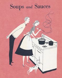 """Mr. Bow Tie and Rover are both wondering what those squiggly lines are doing floating up from the soup.  Chapter heading art from """"Better Home and Gardens New Cookbook"""" 1953 edition artwork by Lorraine Fox"""