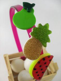 1e1aa4387c Lindo Arco - Infantil em Acrílico de alta Qualidade. Coleção  Frutinhas Fita  Flor Acessórios