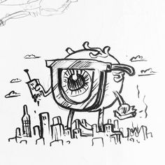 What's the big  EYE-dea!? #eye #glasses #kaiju #inkdrawing #sketchbook #illustration #blackandwhiteart July 23 2016 at 06:24PM