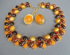 Vintage Monet Statement Necklace Earrings 1980s by SheWhoSparkles