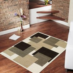 """AllStar Rugs Ivory Modern Geometric Black and Brown Squares Design Area Rug. Size: 7'9"""" x 10'5"""""""