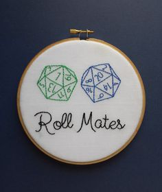Dungeons and dragons, dnd hand embroidery, nerdy couple art
