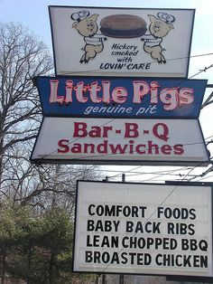 Little Pigs BBQ - Asheville, NC. another in statesville. some of the best in NC!
