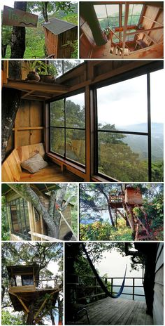 Earth Lodge, Guatemala. This tree house offers fantastic views of the landscapes beyond, including a volcano! It includes a hammock outside for you to enjoy the outdoors...brilliant.