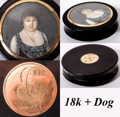 Antique French HP Portrait Miniature Snuff Box, c. 1810-30 - 18k with engraved monogram and dog