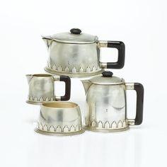 Jean Émile Puiforcat  A Stylish Silver and Bakelite Art Deco Teaset