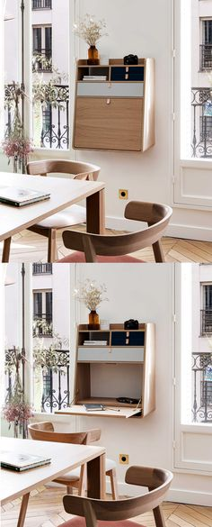 Minimal Desk, Folding Walls, Wood Writing Desk, Wall Desk, Co Working, Bedroom Inspo, First Home, Home Office, Sweet Home