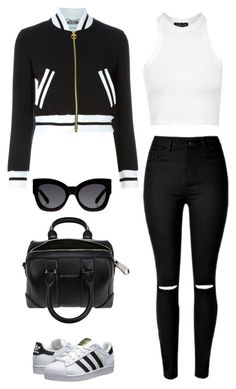 """Untitled #444"" by maritzawaffles on Polyvore featuring Moschino, Topshop, adidas Originals, Givenchy, Karen Walker, women's clothing, women, female, woman and misses"