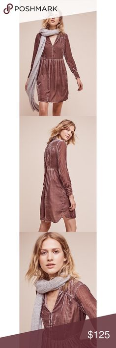 "NWT Anthro Holding Horses Velvet Shirtdress Small * Viscose, nylon; polyester lining  * Side pockets  * Pullover styling with button front  * Hand wash  * Imported * Style No. 4130089932225 * Regular falls 36.5"" from shoulder * Model is 5'10"" Comes from a smoke and pet free home. Item is new with tags and has never been worn.  My prices are firm. No trades or holds. No transactions off of poshmark. Anthropologie Dresses Midi"