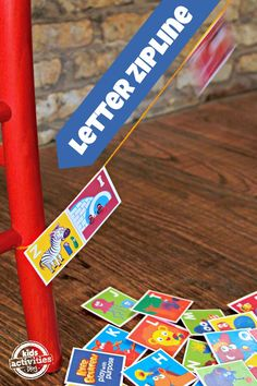 Totally LOVE this!!! Letter Zipline with Awesome Free Alphabet Printable for Kids - 4 different games you can play depending on letter recognition/reading level. #KneeBouncersPlay