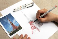 Outlining Tokyo Tower with Pilot's Fude-Makase Brush Pens. Click through to see more brush pen picks!