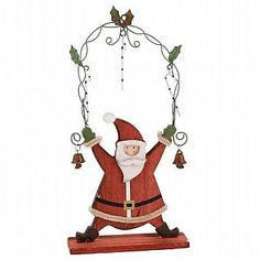 Santa with Holly Arch Christmas Decoration