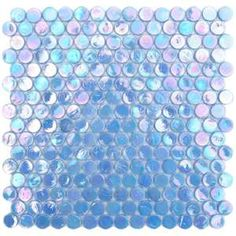 Periwinkle Blue Iridescent Circle Penny Round Glass Mosaic tile is totally cool! Blue Mosaic, Glass Mosaic Tiles, Mosaic Backsplash, Backsplash Ideas, Kitchen Backsplash, Iridescent Tile, Penny Round Tiles, Periwinkle Blue, Periwinkle Bedroom