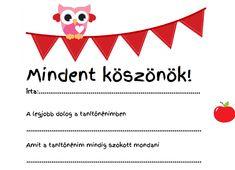 Köszönő levél tanévzáróra, pedagógus napra - Lurkovarázs.hu - Kreatív feladatok gyerekeknek Anna, Education, Blog, Cards, Diy, Gifts, Presents, Bricolage, Blogging