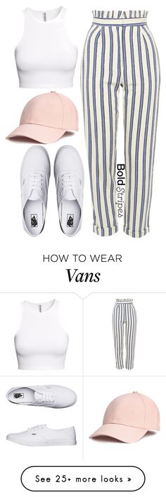 """1335."" by asoul4 on Polyvore featuring H&M, Topshop, Vans, stripedpants and casuallook"