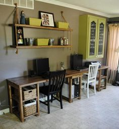 Custom Home Office Desk by SB Designs | CustomMade.com. Can be easily made from pallets and old cabinets!