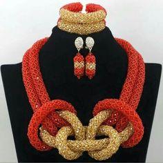 African fashion Crystal beads jewelry Nigeria wedding bride necklace earring bracelet