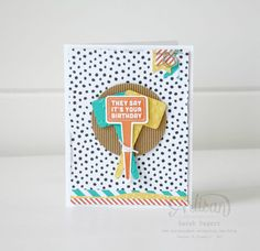 The 'Stake Your Claim' stamp set has a variety of images to choose from. I chose to go masculine with this card. ~ Sarah Sagert