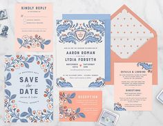 Crest de Amour Wedding Invitations from Paper Raven Co.
