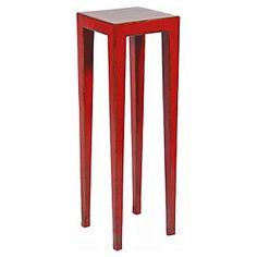 Mesa porta macetero rojo envejecido - Homy.cl