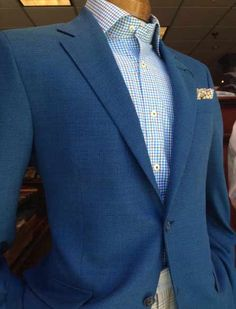 Casually smart in a blue Robert Talbott sport coat, Peter Millar shirt and a Carolina Pines pocket square. Available at Rush Wilson Limited, Greenville SC