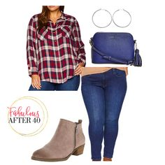 Plaid shirt with dark wsh jeans and suede booties | Plus size Fall Oufit