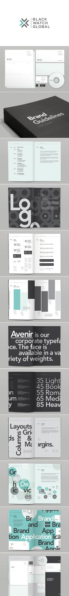 I like the way this is laid out and it gives me some ideas for my own materials.    Black Watch Global Identity and Style Guide by Mash Creative, UK  Different layout inspiration