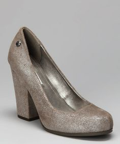 Take a look at this Silver Velvet Nichelle Pump by Calvin Klein on #zulily today! $34.99, REGULAR 89.00. PRODUCT DESCRIPTION: This perennially appropriate silhouette gets a fresh dose of luxurious modern style from a stylish fabric upper and a bold chunky heel.   4.25'' heel Coated Denim upper Man-made sole Imported