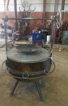 """40"""" fire pit grill with fully adjustable rack. And a wok."""