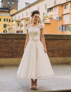 New Vintage Design Ankle Length Wedding Dresses Cap Sleeve Flower Belt Lace Short Bridal Gowns Vestidos de Novia Custom W028