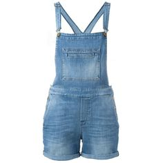 7 For All Mankind Denim Short Overalls (385 AUD) ❤ liked on Polyvore featuring jumpsuits, rompers, blue, bib overalls, 7 for all mankind, blue bib overalls, blue overalls and blue rompers