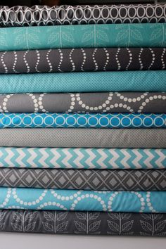 Turquoise and Gray custom FQ bundle 11 total. $30.25, via Etsy.